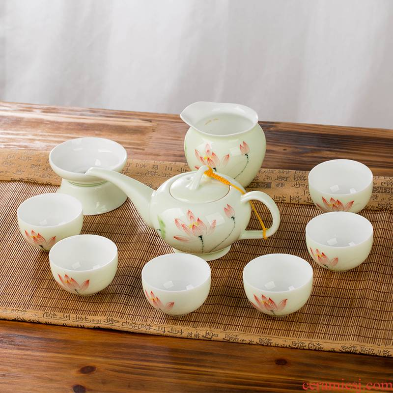 Kung fu tea set household contracted jingdezhen ceramic cup teapot the sitting room is a small set of gift boxes