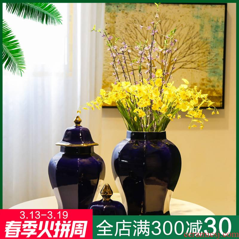 Jingdezhen ceramic new Chinese general tank desktop furnishing articles sitting room light club vase decoration key-2 luxury flowers, flower receptacle