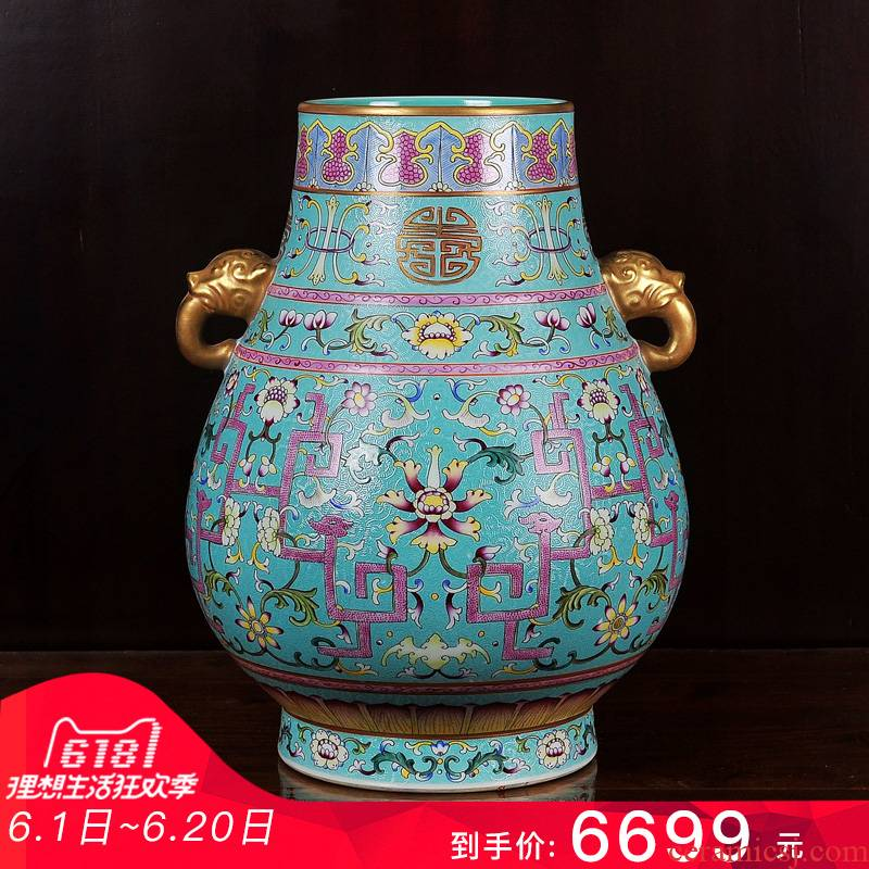 Jingdezhen ceramics imitation the qing qianlong pastel green, see the bucket bottom pick flower vase household handicraft furnishing articles