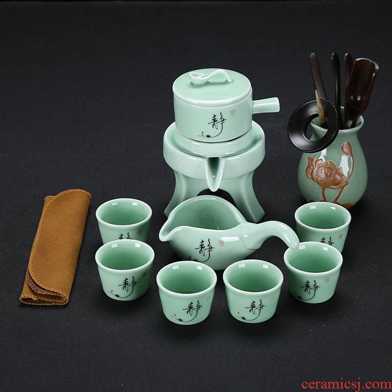 Stone ground tea set suits for domestic kunfu tea creative ceramic purple sand cup teapot and half automatic lazy people make tea