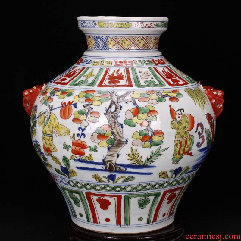 Jingdezhen imitation of yuan blue and white color antique antique character lines beast ear can restore ancient ways to decorate the old objects collections