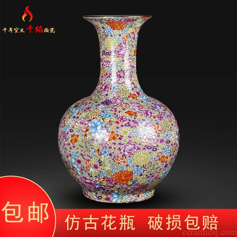 Jingdezhen ceramics archaize qianlong pastel flower vases, Chinese style living room decorations rich ancient frame furnishing articles of the reward bottle