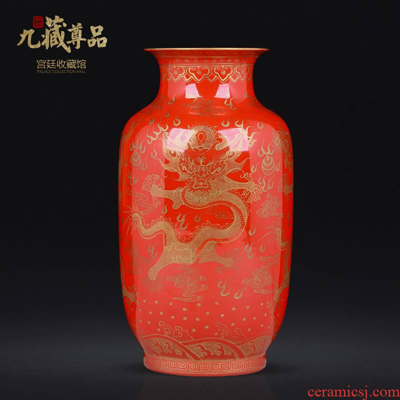 Jingdezhen ceramics antique hand - made with Jin Longwen vase Chinese style living room porch TV ark, flower arranging furnishing articles