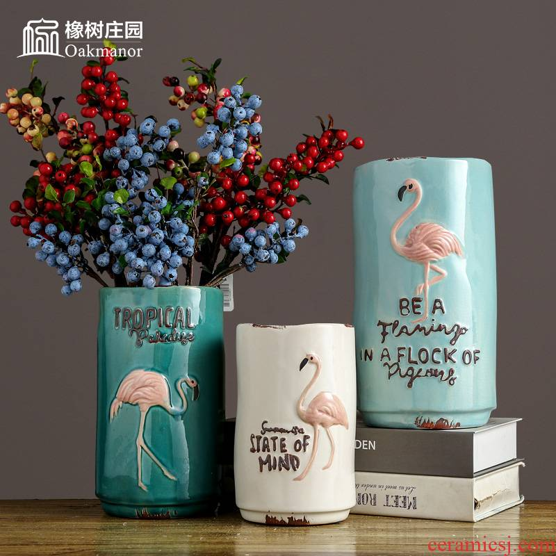 Nordic ceramic flamingos vase furnishing articles dried flower arranging flowers sitting room adornment American I and contracted table decorations