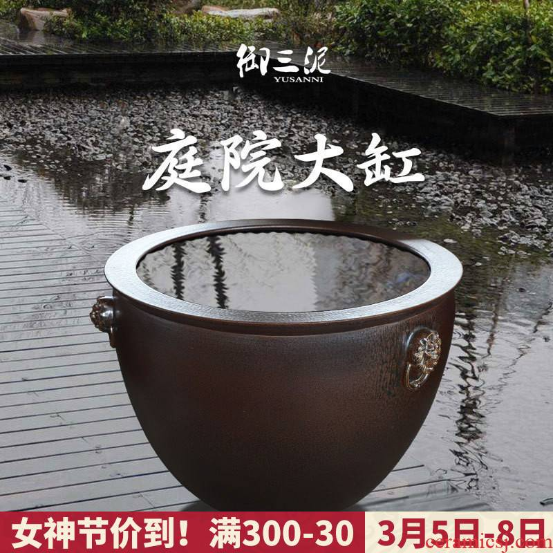 Jingdezhen ceramic big fish tank water lily tortoise cylinder engraving large sitting room extra large earthenware tank goldfish bowl