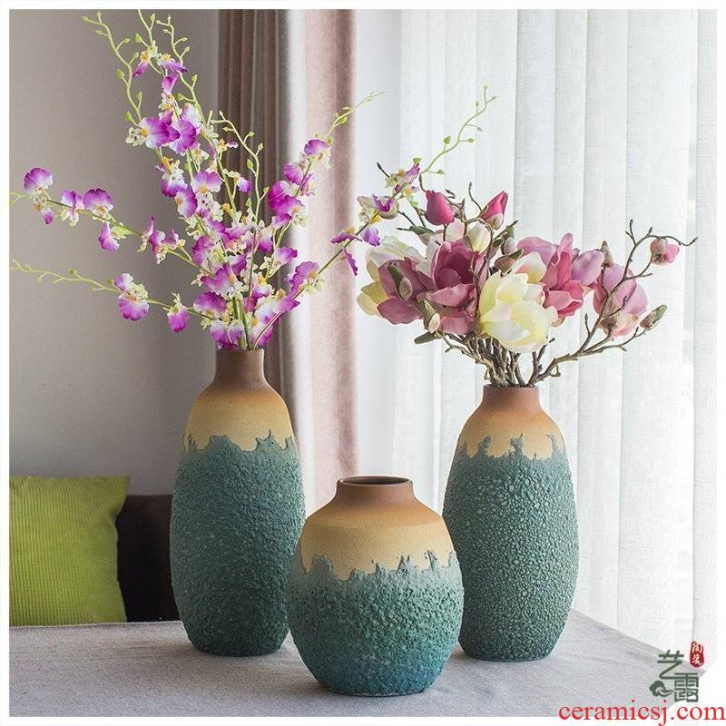 Southeast Asia style ceramic vases, three - piece suit modern American rural household adornment hotel club house furnishing articles