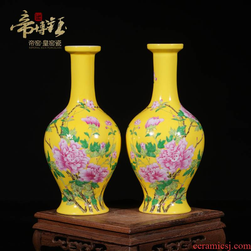 Jingdezhen porcelain enamel decorated by hand open with a silver spoon in its ehrs expressions using vase mesa of modern Chinese style household act the role ofing is tasted furnishing articles in the living room