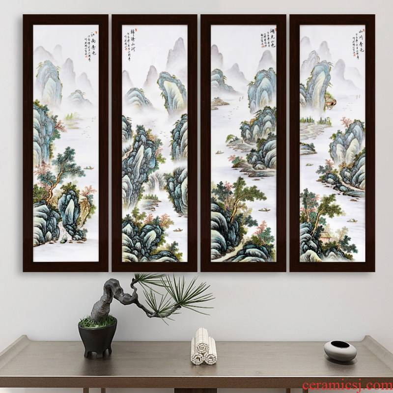 Jingdezhen hand - made ceramic plate mural painting landscape setting wall decoration painting porch restaurant scene sitting room hangs a picture of the corridor