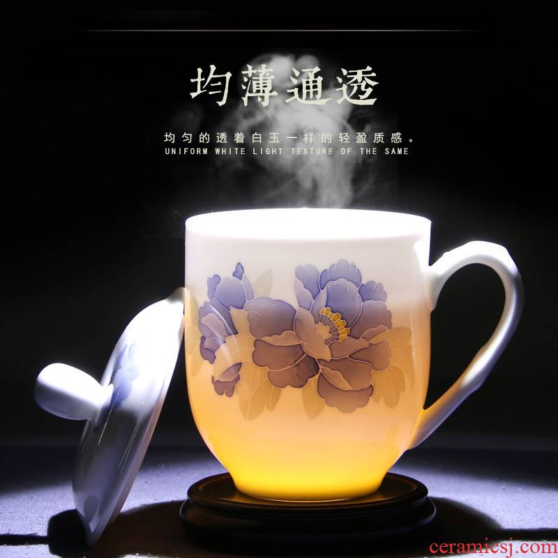 New liling porcelain teacup large capacity and household hand - made under glaze color porcelain cup tea cup can be customized
