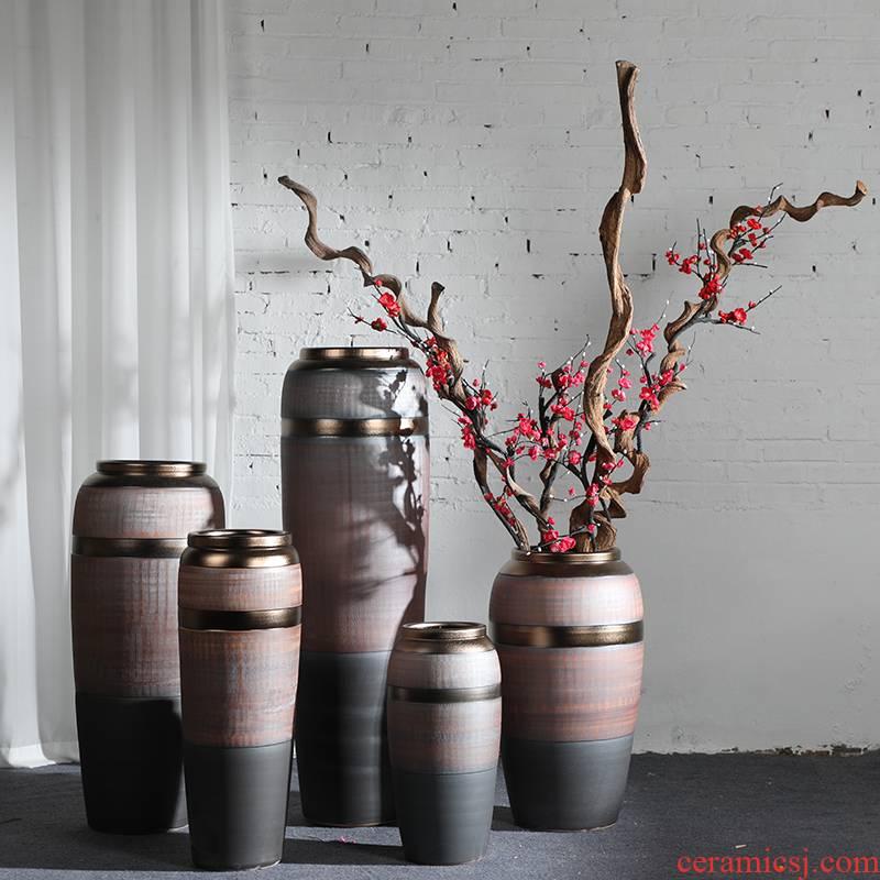 Light key-2 luxury ceramic vase landing simulation flower restoring ancient ways suit sitting room dry flower arranging European high flower vase furnishing articles