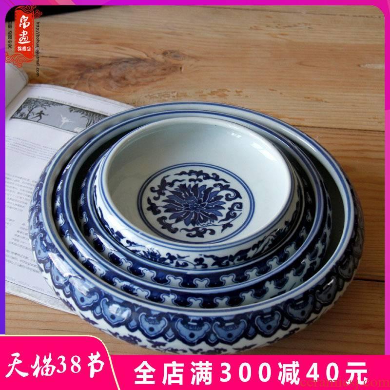 Jingdezhen ceramics ashtray home sitting room creative writing brush washer of large diameter cylinder tank multi - function furnishing articles