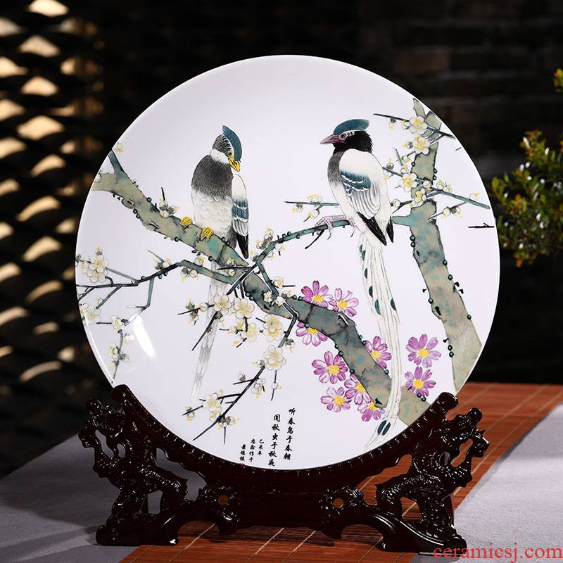 Jingdezhen ceramic decoration plate of furnishing articles furnishing articles large sitting room porch ark adornment handicraft wedding gift