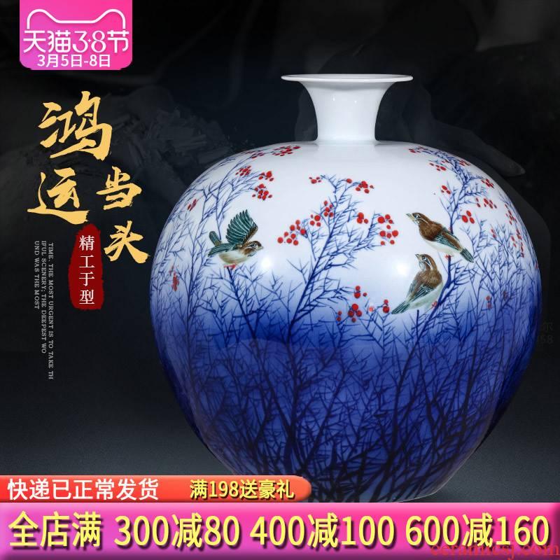 Jingdezhen ceramics masters hand draw large Chinese blue and white porcelain vase flower arranging home decoration furnishing articles sitting room