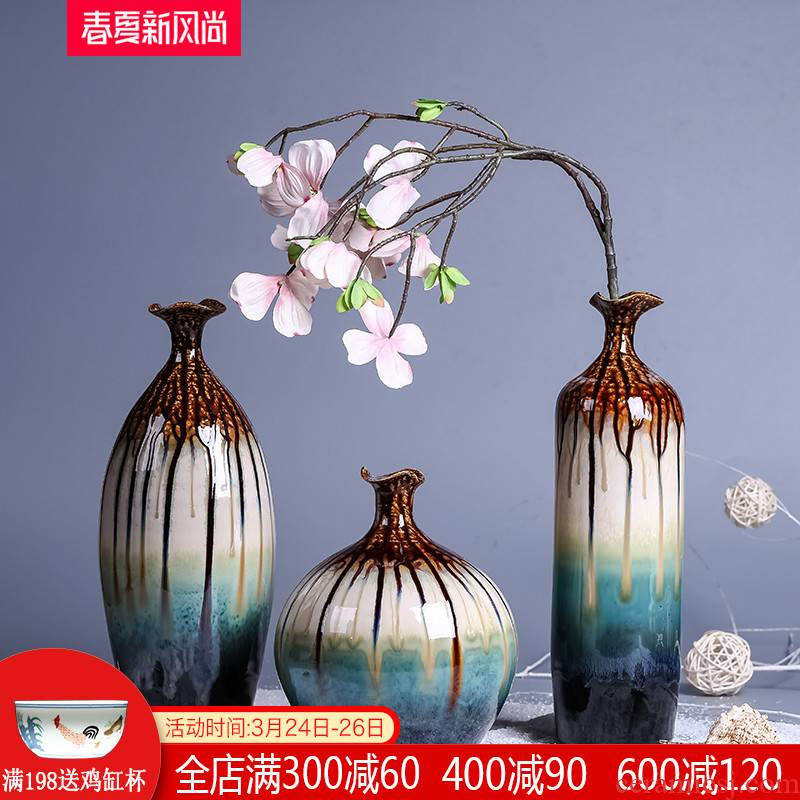 Jingdezhen ceramic vase three - piece antique porcelain table flower implement modern new Chinese style living room decoration