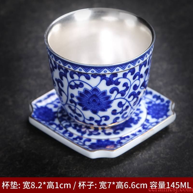 The Master of the blue and white porcelain cup sample tea cup archaize ceramic kung fu tea cup bowl large kung fu Japanese single CPU