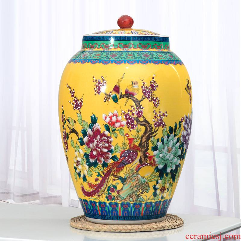 Jingdezhen ceramic barrel 20 jins 30 jins of 50 kg pack ricer box storage box with cover household moistureproof insect - resistant meter as cans
