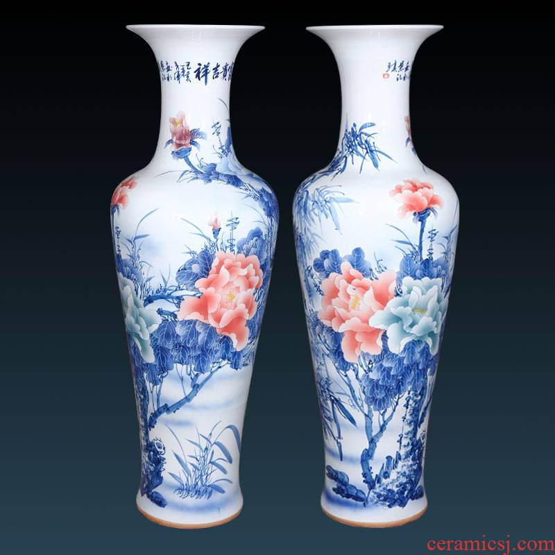 Jingdezhen ceramics hand - made large blue and white porcelain vase furnishing articles sitting room be born Chinese TV ark, porch decoration