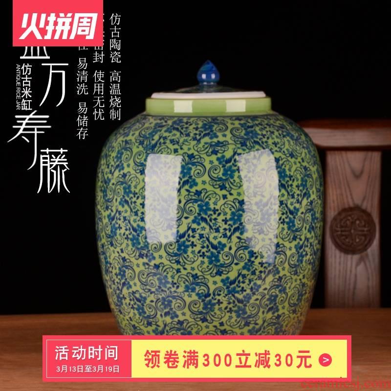 Jingdezhen ceramic barrel ricer box 30 jins home moisture meter box storage grain flour cylinder seal storage tank in the kitchen
