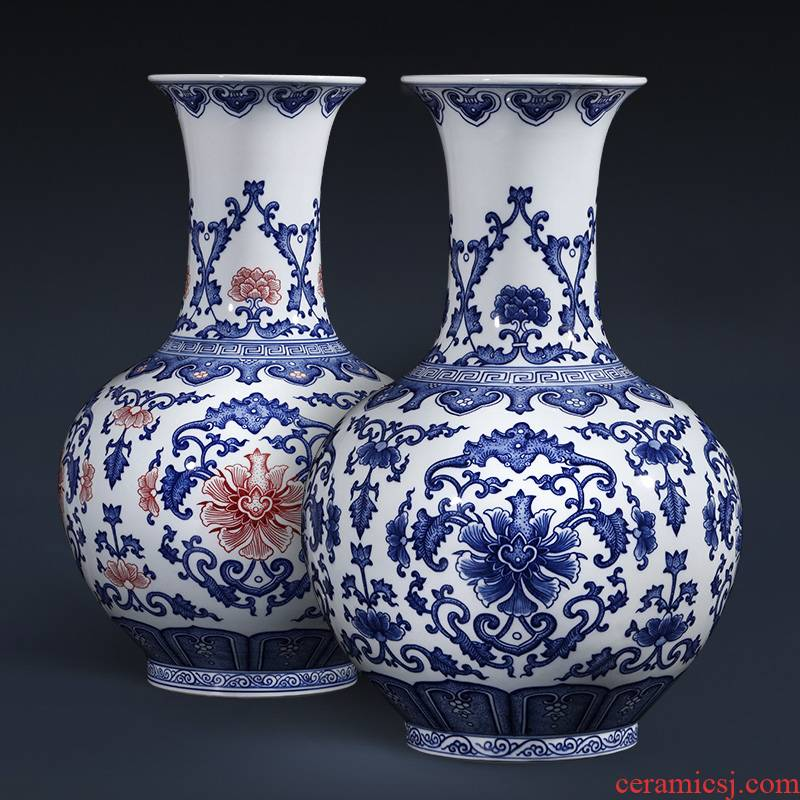 Jingdezhen ceramics hand - made antique blue and white porcelain vase furnishing articles sitting room flower arranging large Chinese style household ornaments