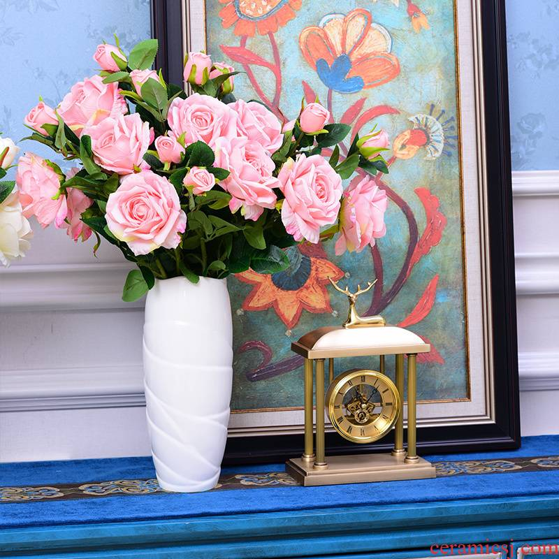 Roses fake flowers furnishing articles sitting room tea table simulation table dry flower bouquet ceramic vases, decorative flower arranging flowers