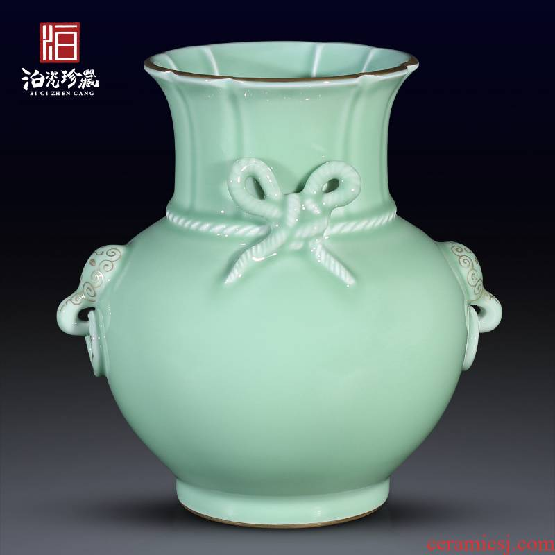 Jingdezhen ceramics imitation the qing pea green glaze blessed with a double ear vase flower arranging furnishing articles sitting room home decoration collection