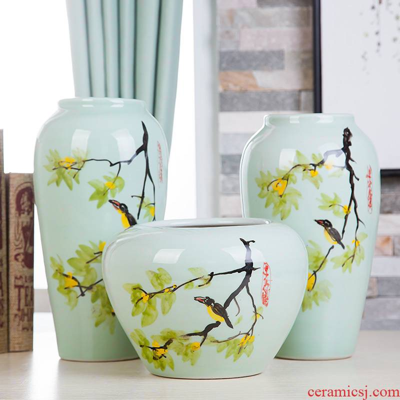 Jingdezhen ceramic hand - made vases, three - piece suit of new Chinese style living room furnishing articles wine handicraft decorative household items