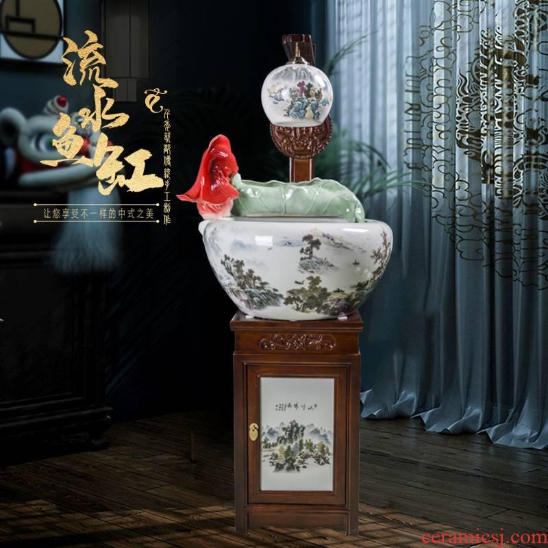 Jingdezhen ceramic goldfish bowl loop filter - oxygen atomization humidifying water tank water living room opening furnishing articles
