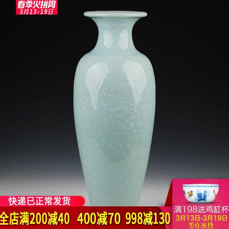 Jingdezhen ceramics archaize crack jun porcelain glaze white big vase modern living room furniture decoration pieces of borneol