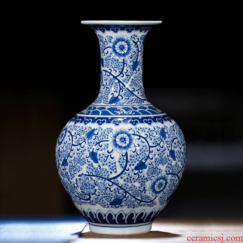 Jingdezhen ceramics vase antique blue - and - white large flower arranging new porch sitting room of Chinese style household act the role ofing is tasted furnishing articles