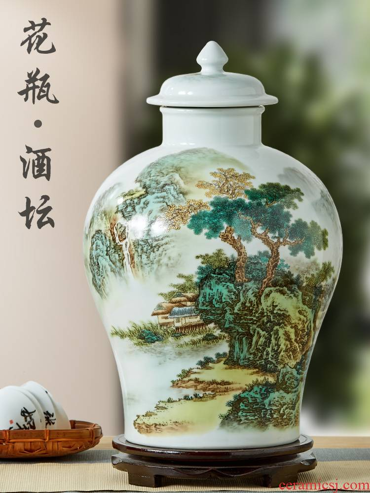 Jingdezhen ceramic jars leading wine jar 10 jins 20 jins 30 jins home general jugs tank sealing water expressions using