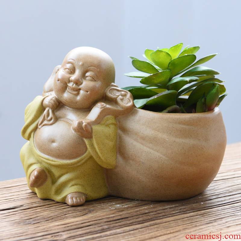 Fleshy zen flowerpot ceramic maitreya desktop furnishing articles asparagus pot potted flower implement small old running the furnishing articles flowers