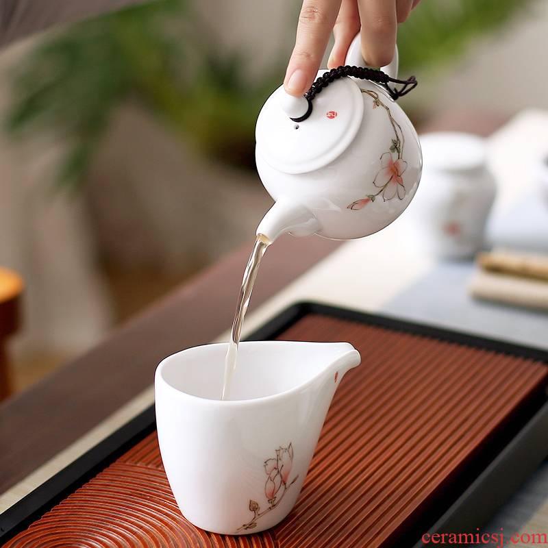 Mud seal suit household ceramic teapot kung fu tea set office hand - made single pot of filtering dehua white porcelain teapot
