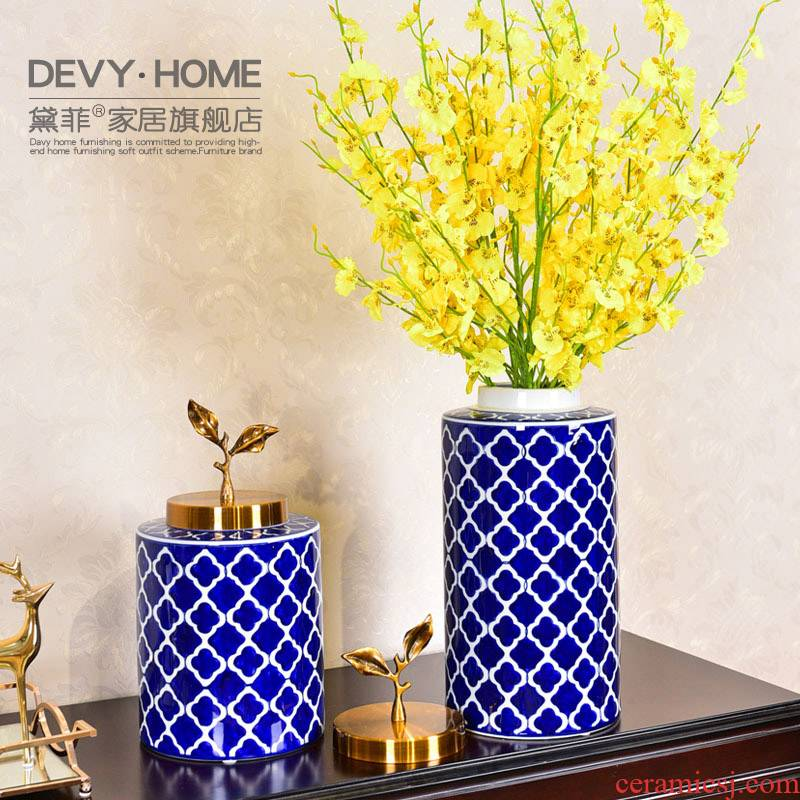 New Chinese style classic blue and white porcelain vase wine porch soft adornment fake flower simulation flower flower, living room decoration