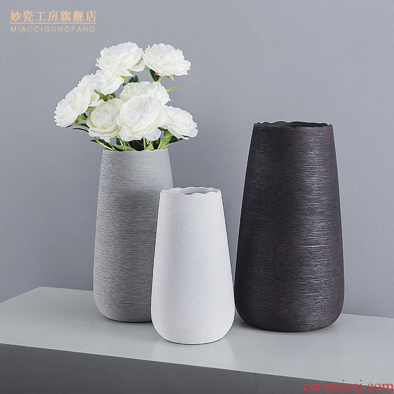 I and contracted Nordic ceramic manual drawing vase furnishing articles white flower arranging home sitting room adornment ornament