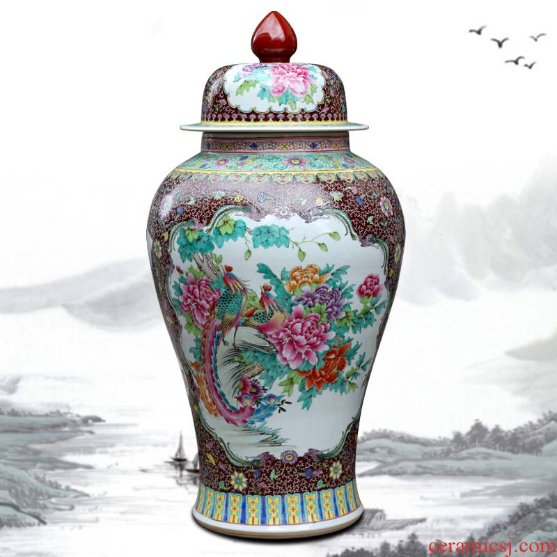 Jingdezhen ceramic hand - made peacock peony general pot home sitting room place study office of the big vase