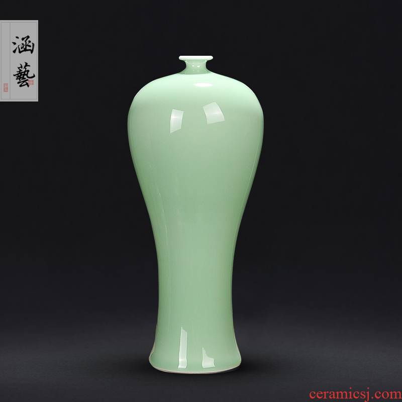 Jingdezhen ceramics vase shadow blue glaze flower arranging the sitting room of Chinese style home furnishing articles rich ancient frame decoration craft gift