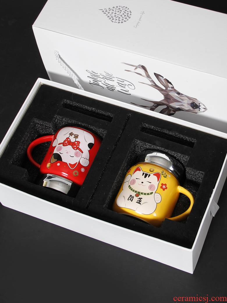 New Year gift cups one lovely plutus cat creative ceramic keller cup keller with cover gift boxes