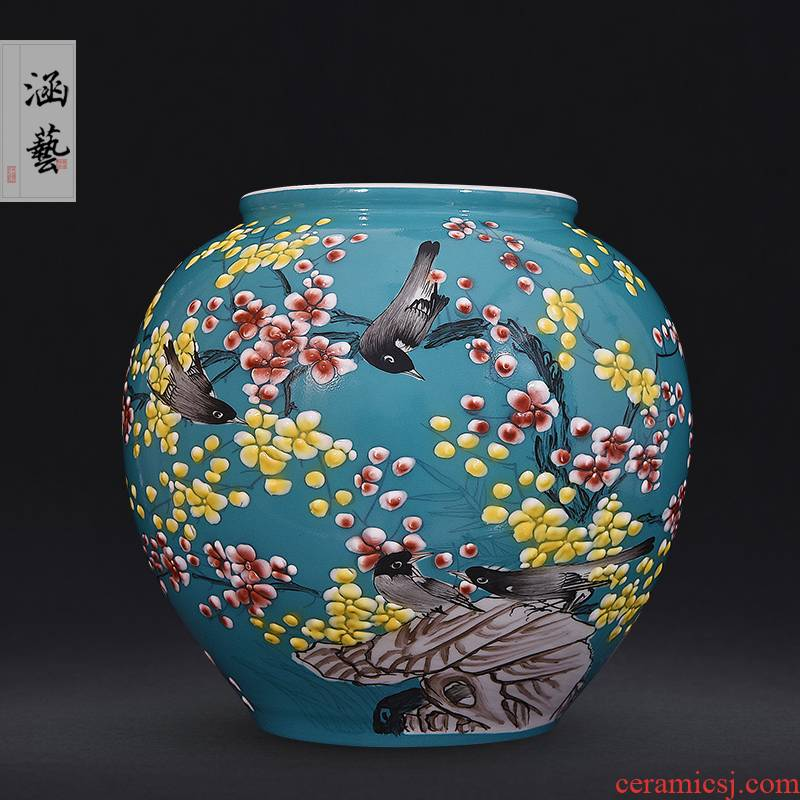 Jingdezhen ceramics hand - made pastel xi mei tip pomegranate bottle of flower arrangement sitting room of Chinese style decoration on furnishing articles of handicraft