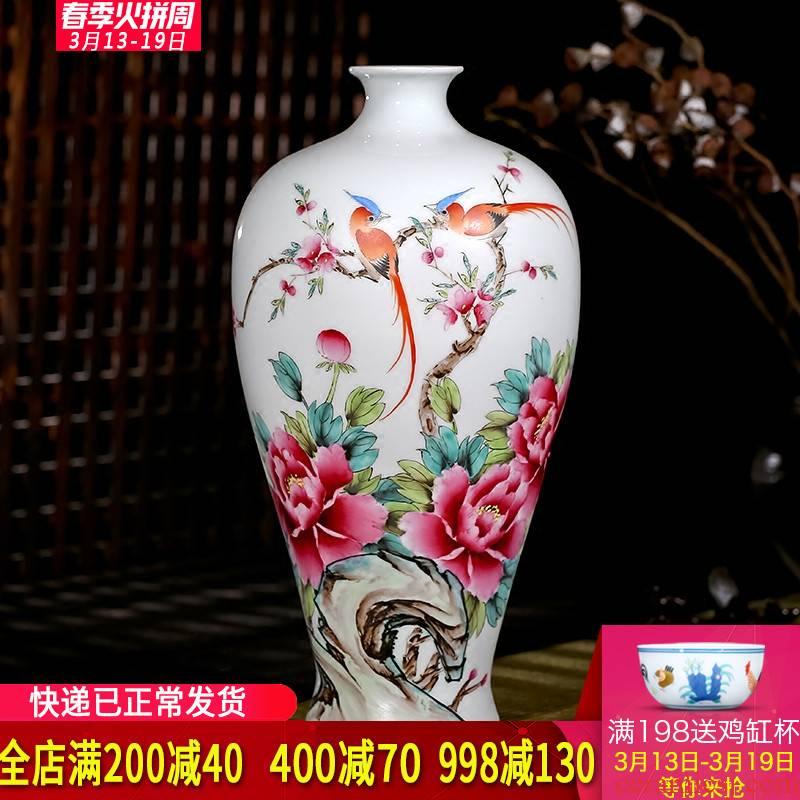 Jingdezhen ceramics by hand draw pastel spring brightness vase household adornment handicraft furnishing articles sitting room