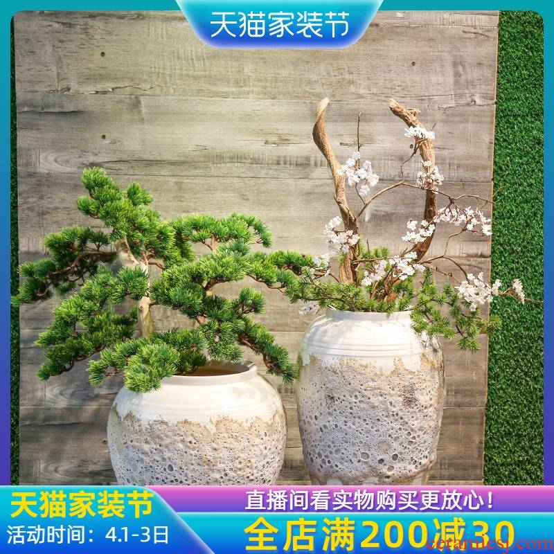 Jingdezhen manual coarse pottery imitation mesa vase is placed between sitting room villa hotel example simulation flower tree decoration