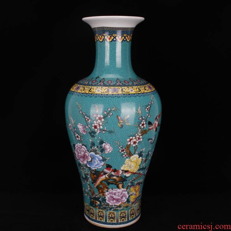 Jingdezhen porcelain in qianlong blue colored enamel charactizing a Chinese domestic outfit company store large vase