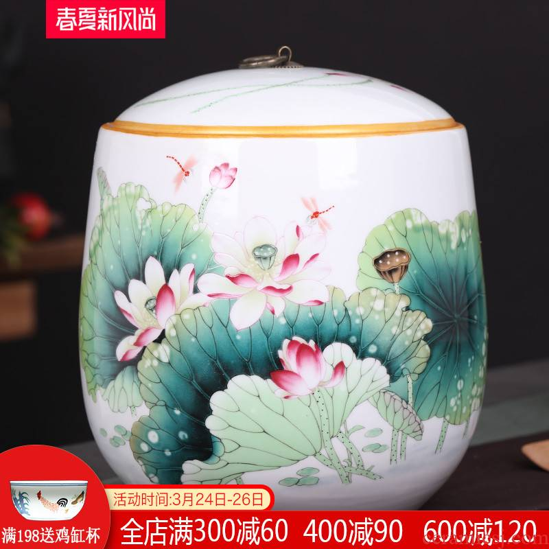 Pu 'er tea canister jingdezhen ceramic large cake receives, the seventh, peulthai the household storage tank 10 jins tea storage tanks