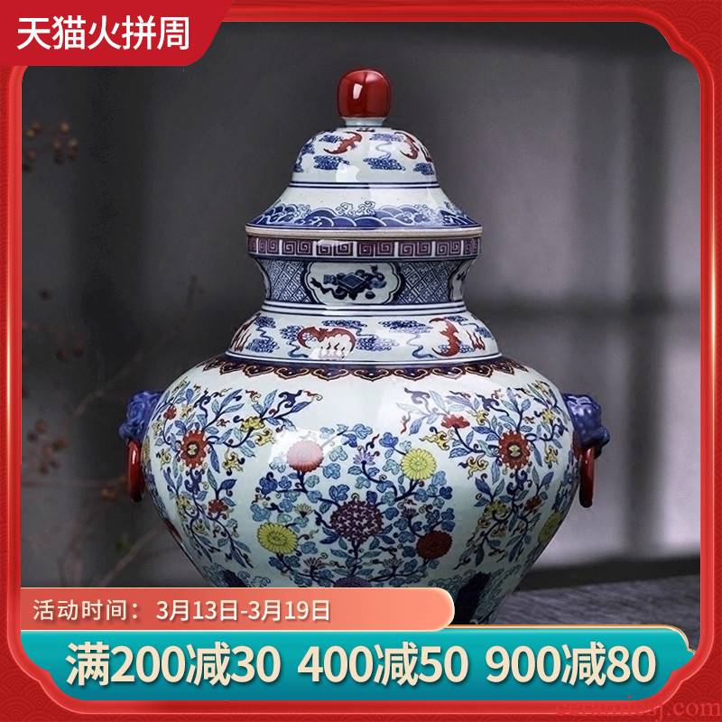 Jingdezhen ceramic antique hand - made storage jar lid of blue and white porcelain jar of home sitting room adornment handicraft furnishing articles