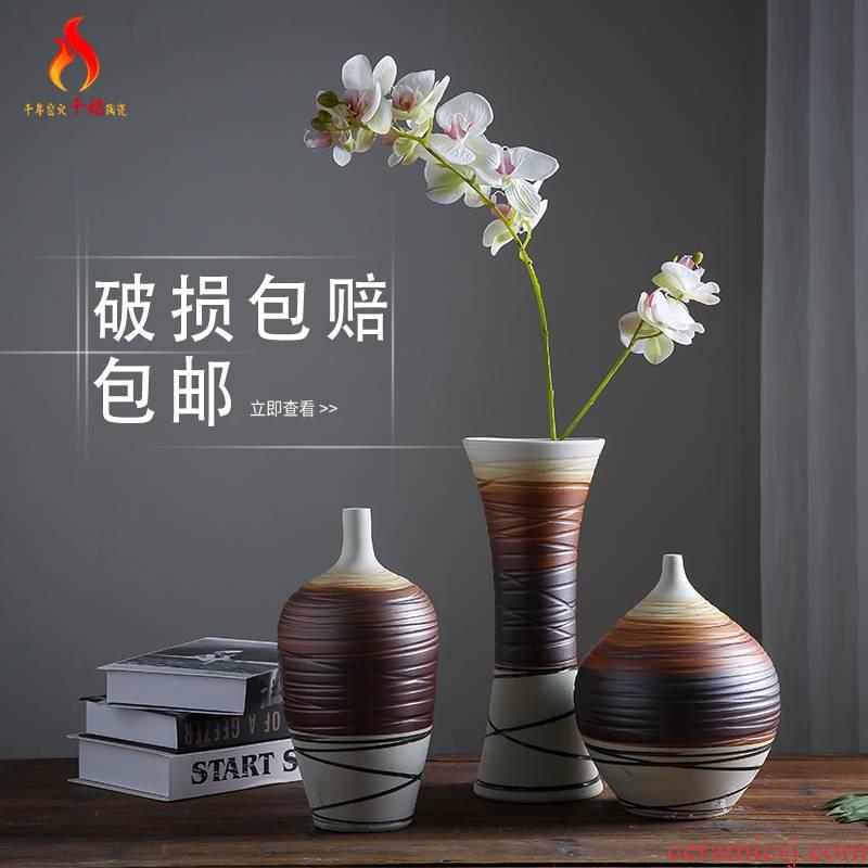 Mesa vase dry flower arrangement sitting room coffee stripe restoring ancient ways of jingdezhen ceramics coarse pottery decorative furnishing articles three - piece suit