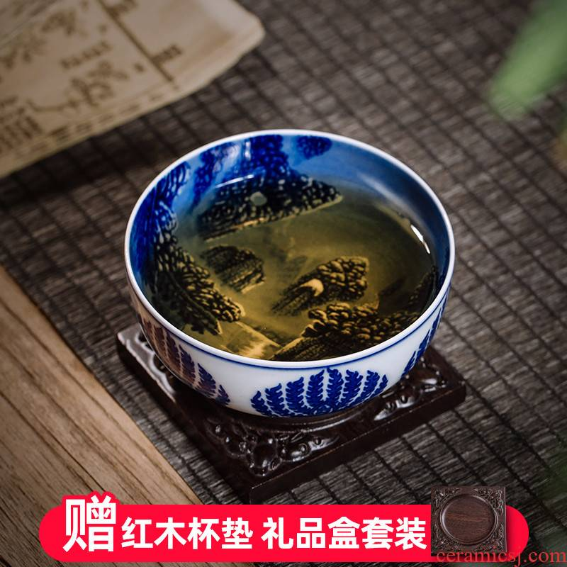 The Owl up jingdezhen hand - made of blue and white porcelain tea set painting of landscape master cup cup sample tea cup single cup tea cup