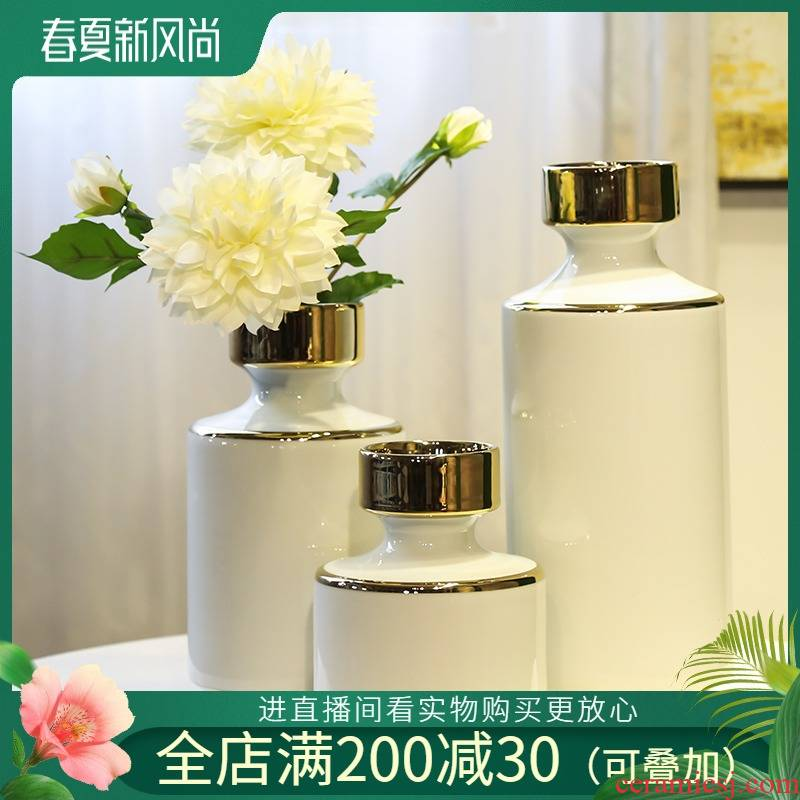 Jingdezhen ceramic light key-2 luxury furnishing articles home sitting room adornment office vase simulation flowers, contracted and I