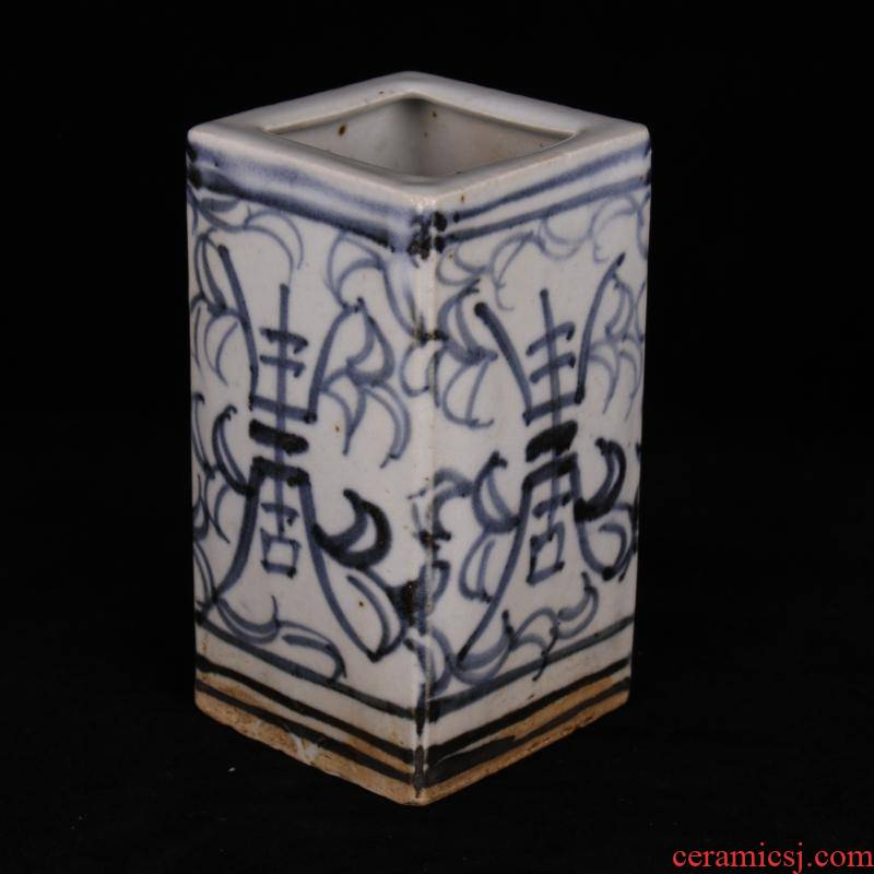 Archaize of jingdezhen blue and white porcelain square antique vase play an antique old items furnishing articles do old folk collection