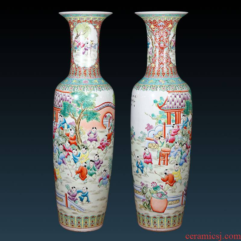 Jingdezhen ceramics hand - made pastel of large vases, Chinese style living room TV ark, home furnishing articles