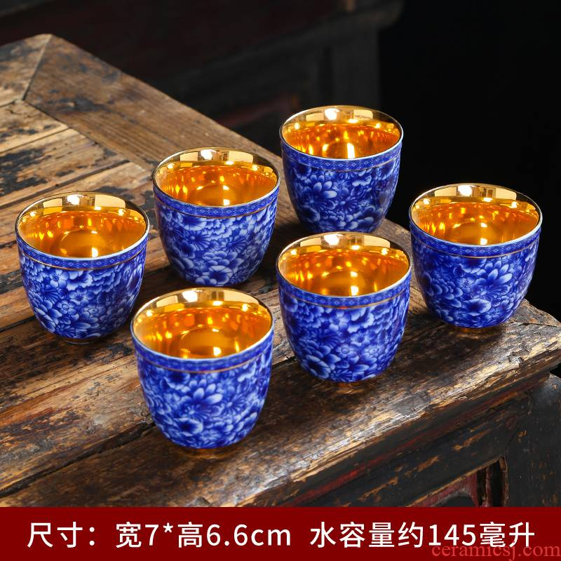 Blue and white porcelain teacup ji Blue ceramic kung fu tea tea cups single CPU master cup, suit the bowl sample tea cup