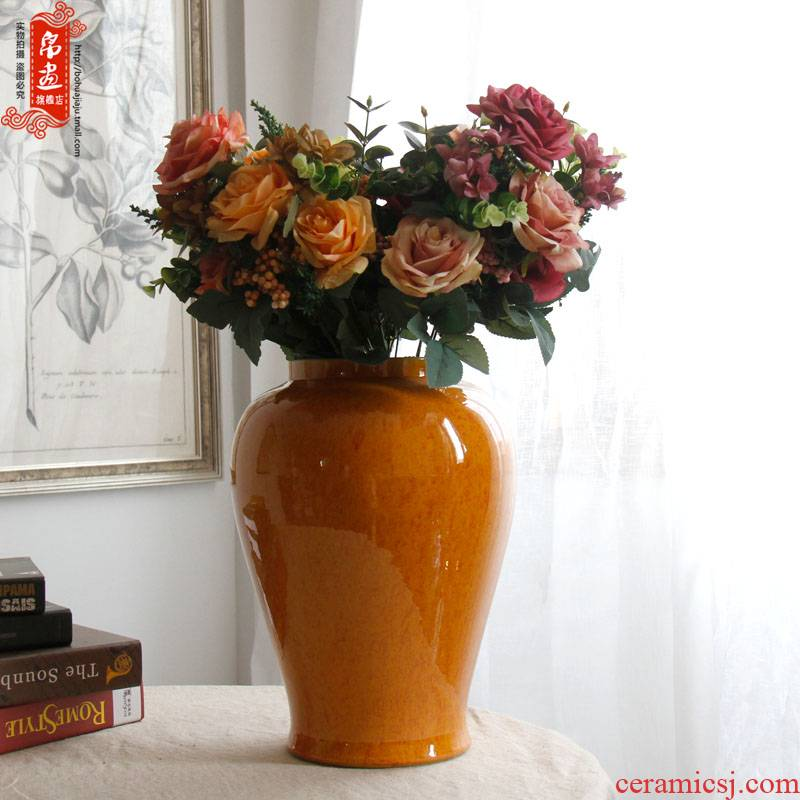 Grain dry flower vases, jingdezhen ceramic general agate as cans sitting room of Chinese style household soft adornment flower arranging furnishing articles